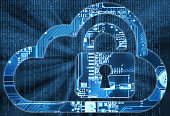 Security concept with cloud and lock in electronic circuit