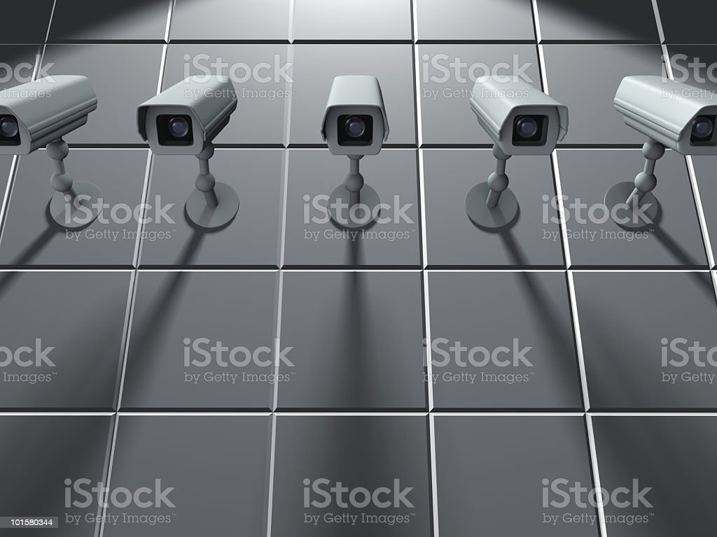 Security concept with multiple cameras on the wall royalty-free stock photo