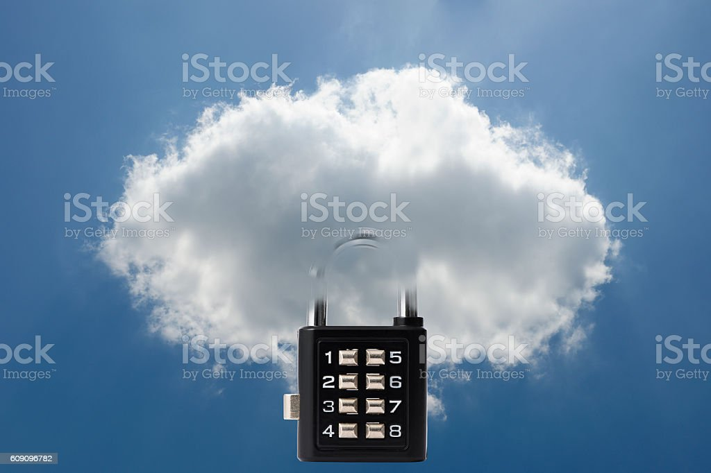 Security concepts for cloud computing with locked combination lock stock photo