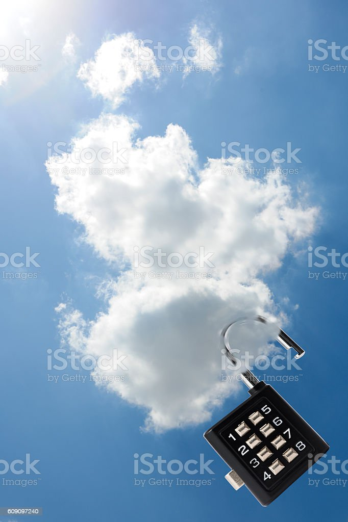 Security concepts for cloud computing with unlocked combination lock stock photo