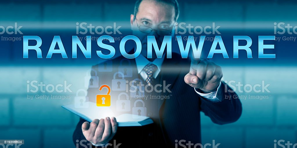 Security Consultant Touching RANSOMWARE stock photo