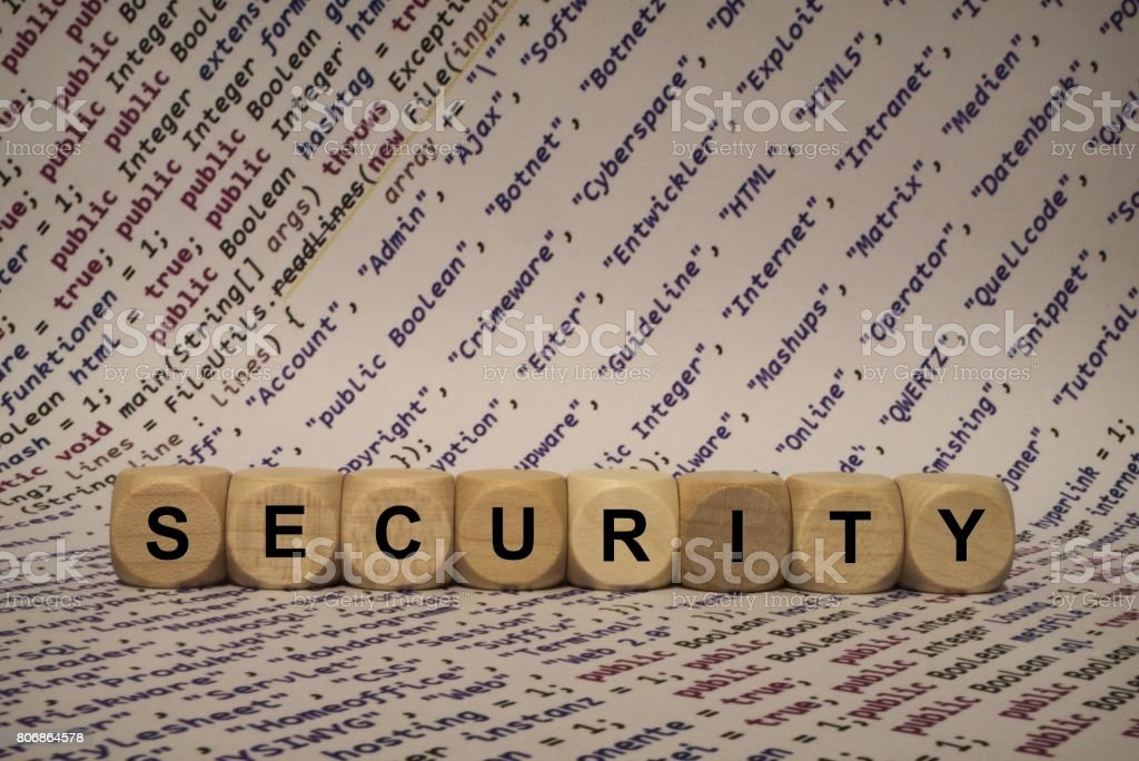 security - cube with letters and words from the computer, software, internet categories, wooden cubes stock photo