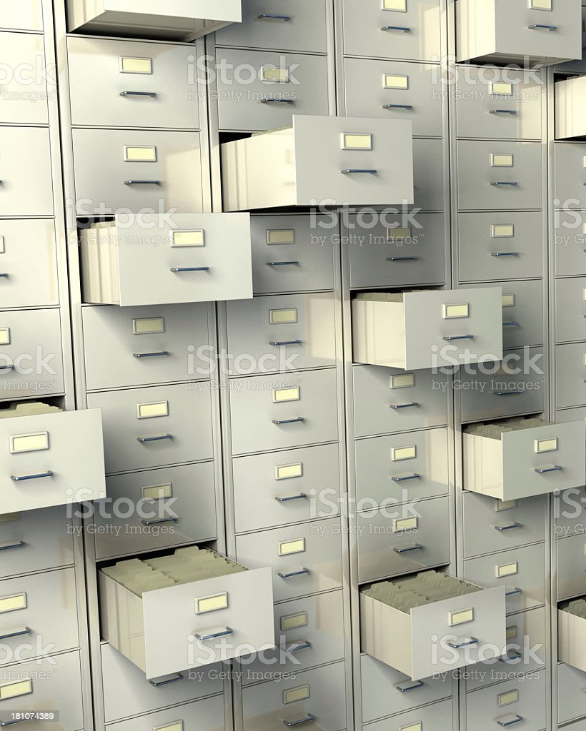Security deposit boxes closed and open royalty-free stock photo