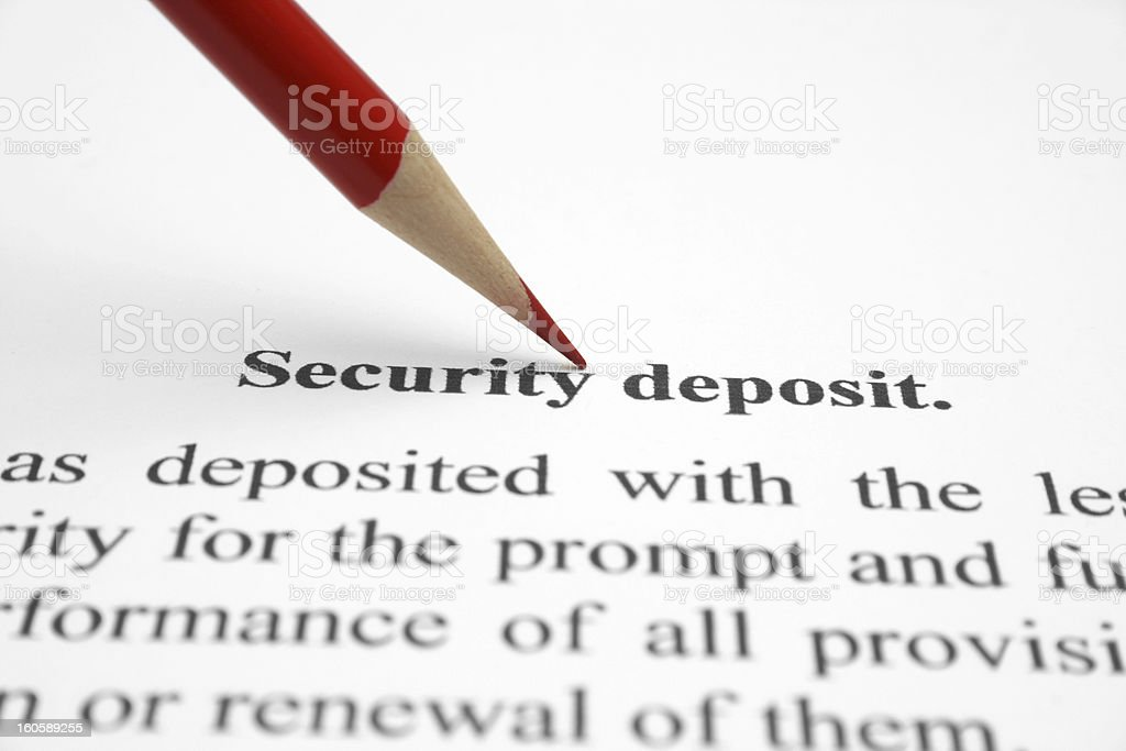 Security deposit stock photo