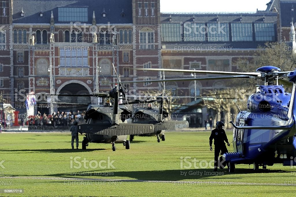 Security detail helicopters for President Obama in Amsterdam stock photo