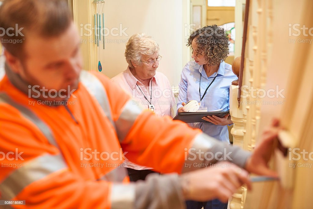 security devices for senior woman stock photo