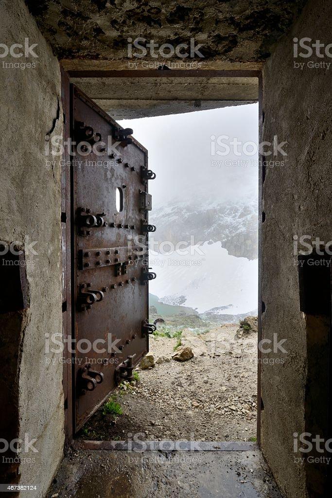 Security door of a bunker stock photo