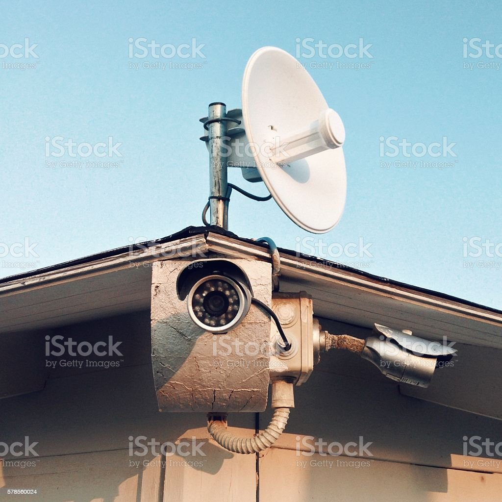 Security equipment - CCTV cameras outdoors stock photo