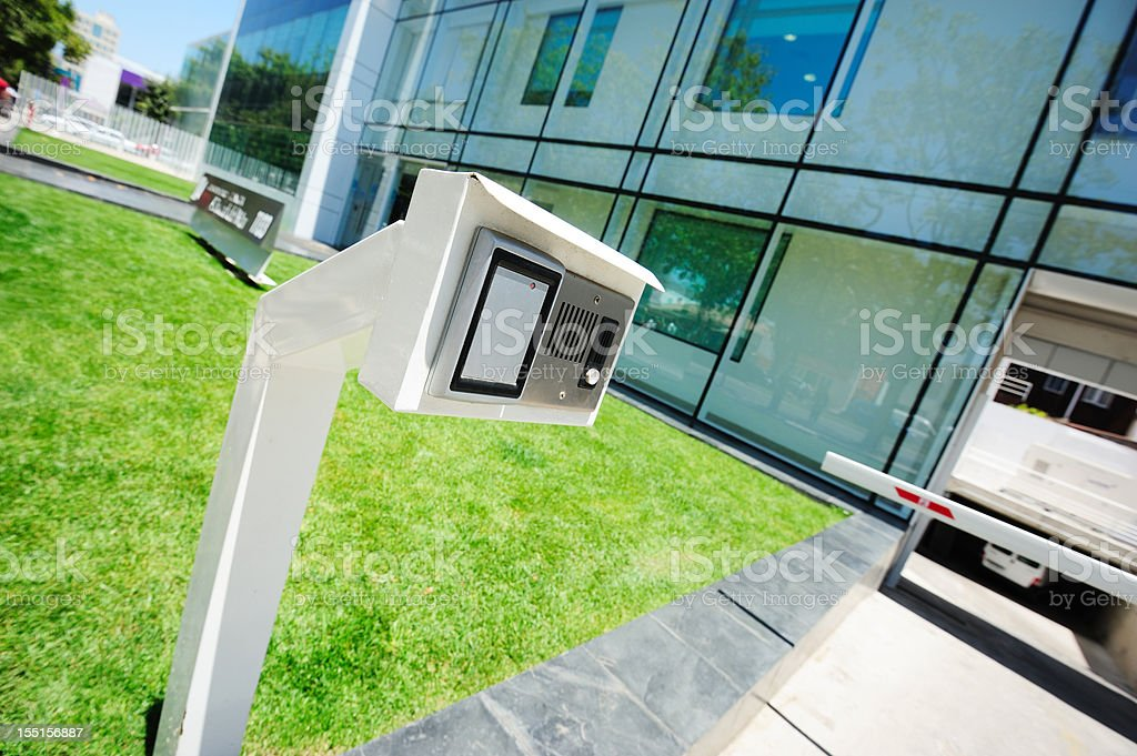 Security equipment, speaker, camera, entrance royalty-free stock photo