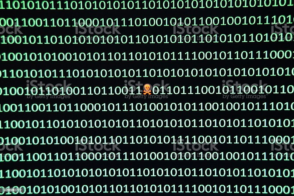 Security exploit in a string of binary code stock photo