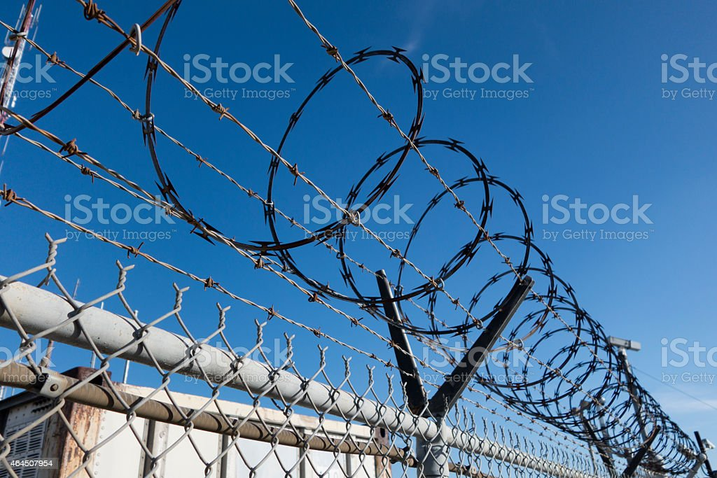 Security Fence and Camera stock photo
