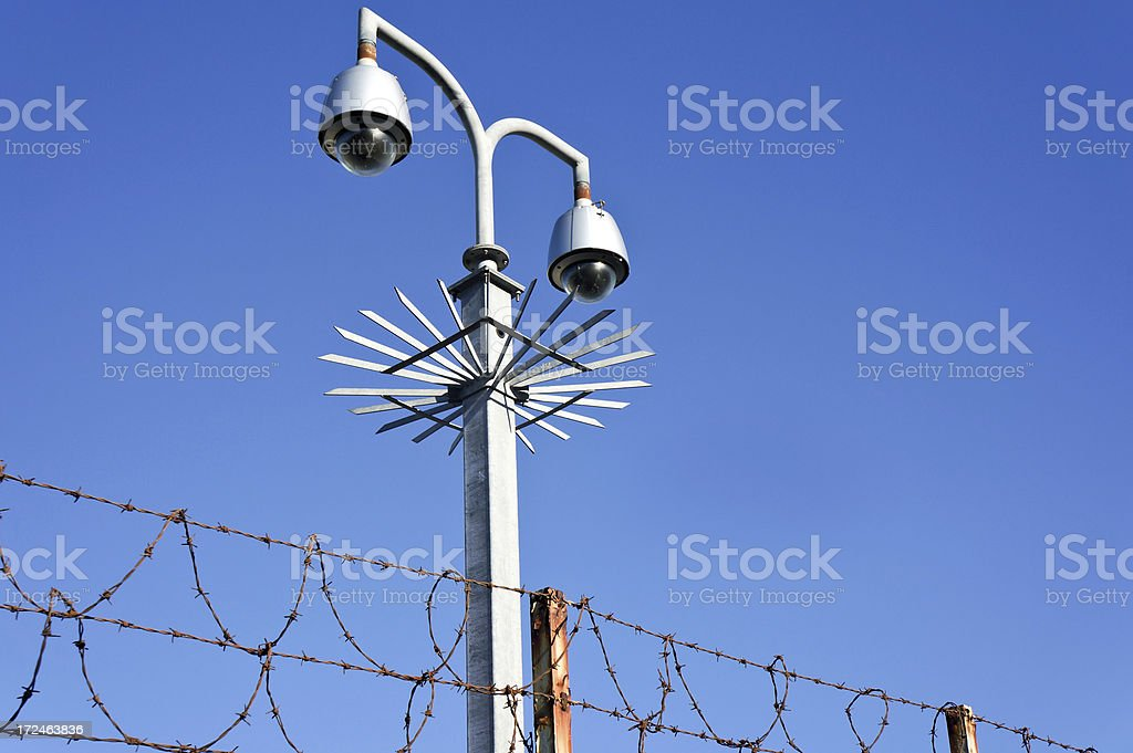 Security Fence with Post royalty-free stock photo