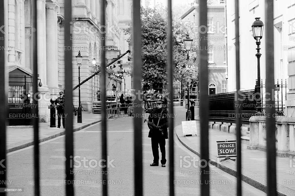 Security for Downing Street home of the British Prime Minister stock photo