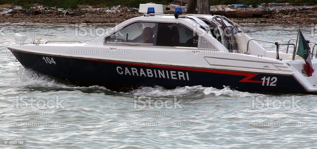 Security Force Carabinieri Boat Patrolling On Canal Of Venice.Italy stock photo