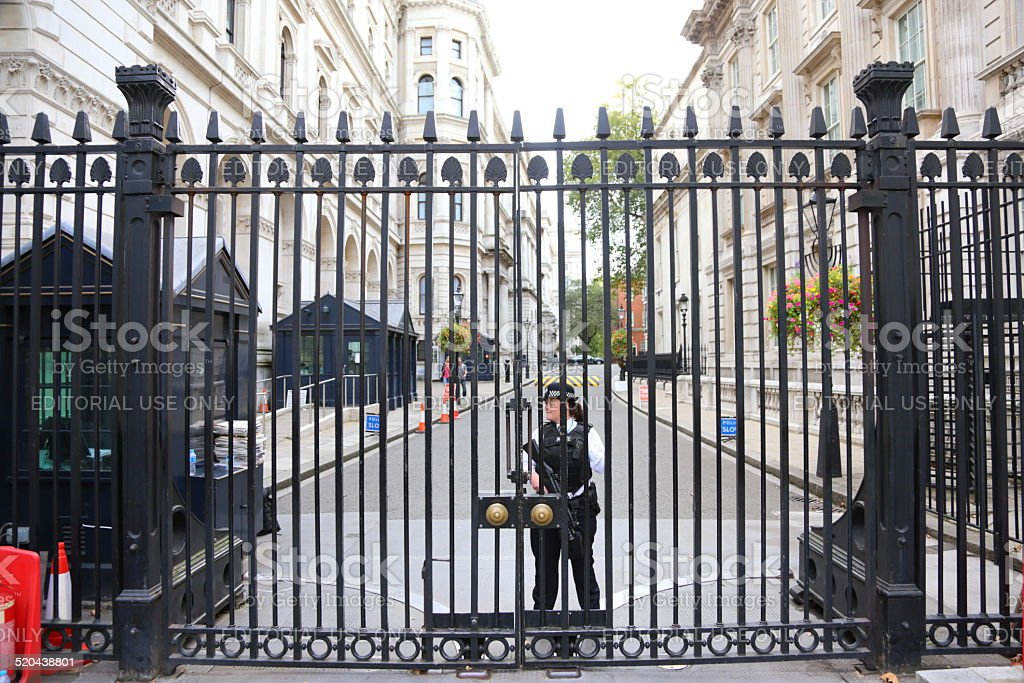 Security Gates on Downing Street stock photo