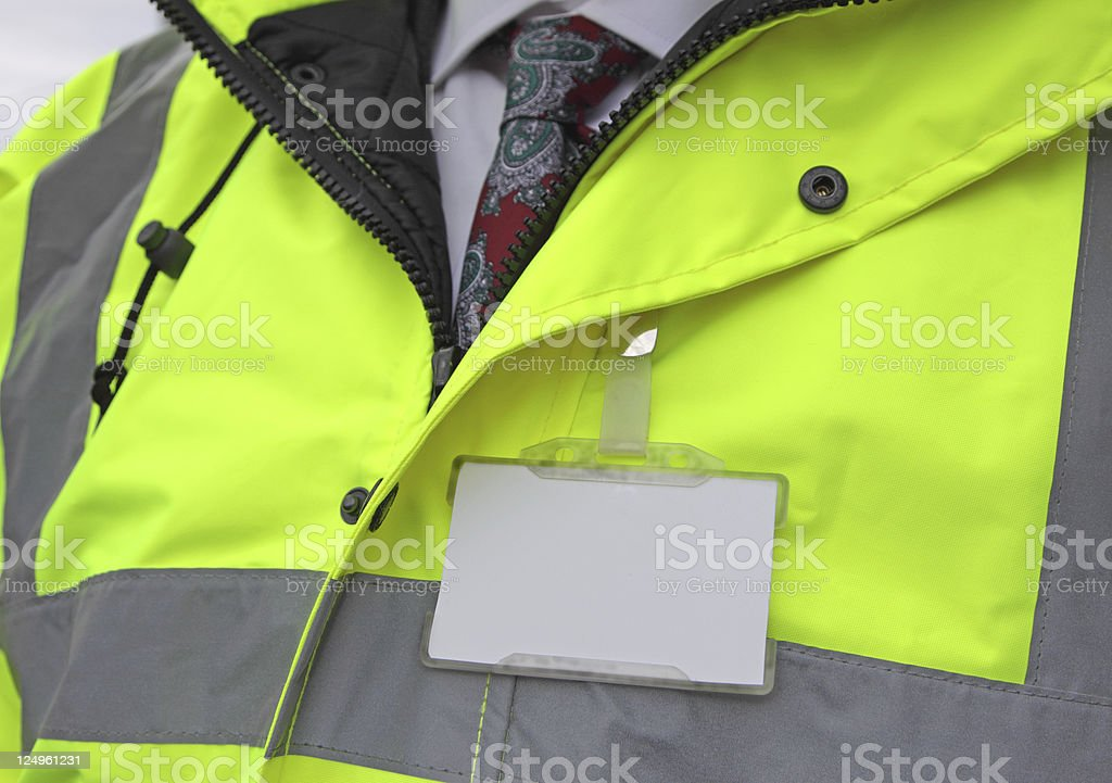 security gaurd with blank name tag stock photo