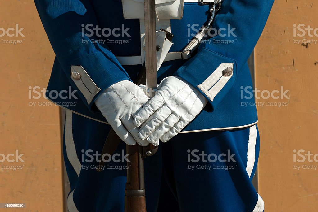 Security guard at the Royal Palace in Stockholm stock photo