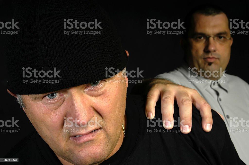 Security guard caught the burglar stock photo