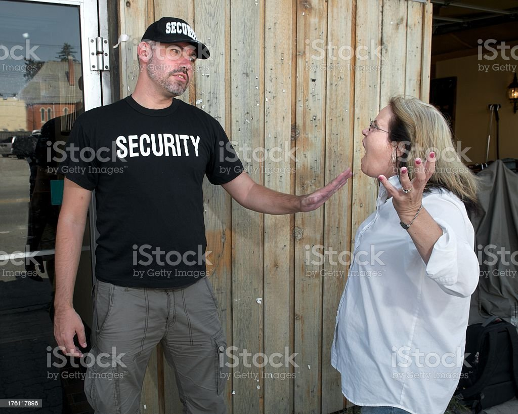 Security Guard Confrontation stock photo