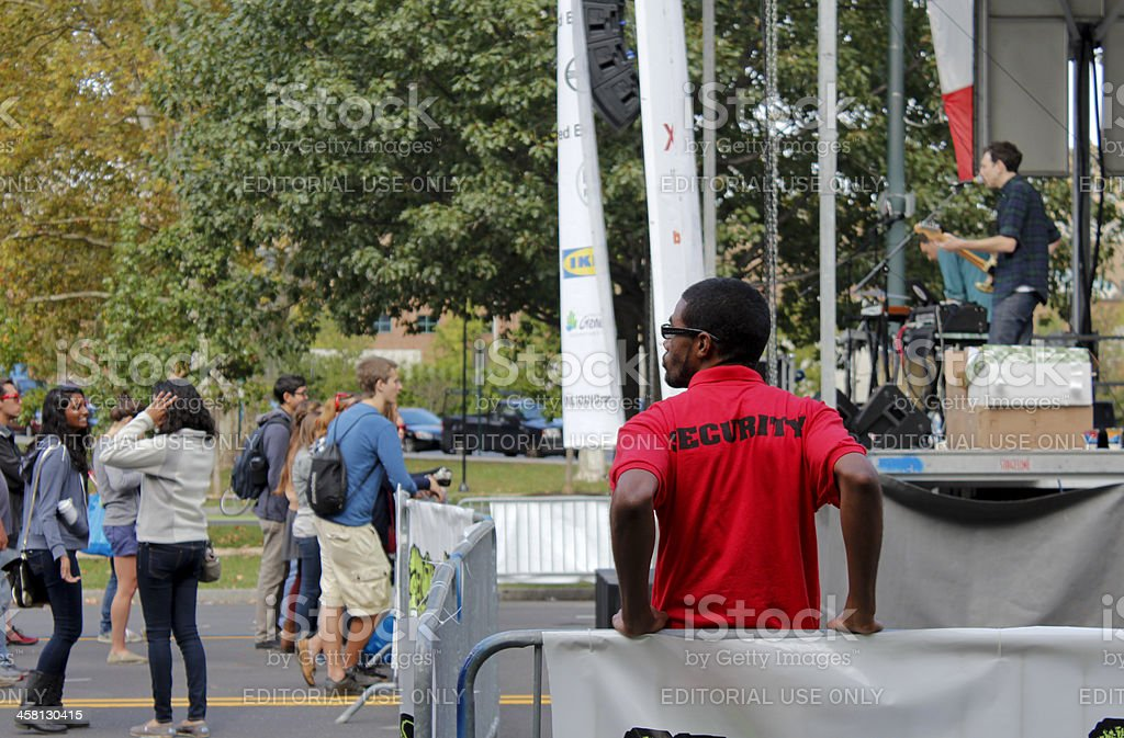 Security guard during College Day concert organized by Campus Philly stock photo