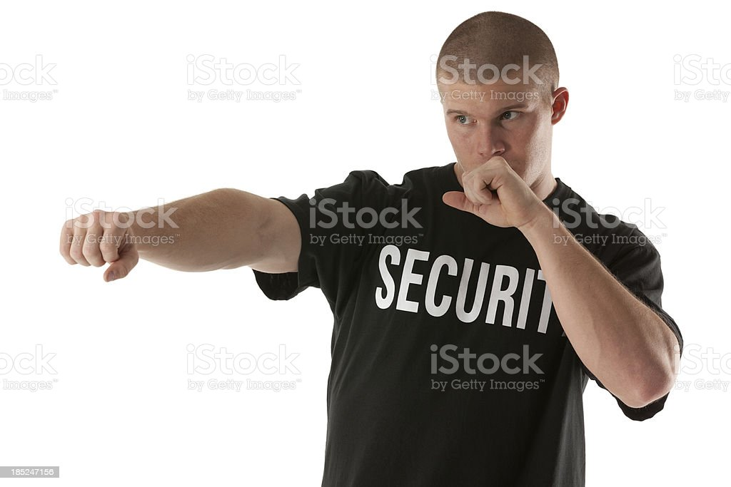 Security guard gesturing royalty-free stock photo