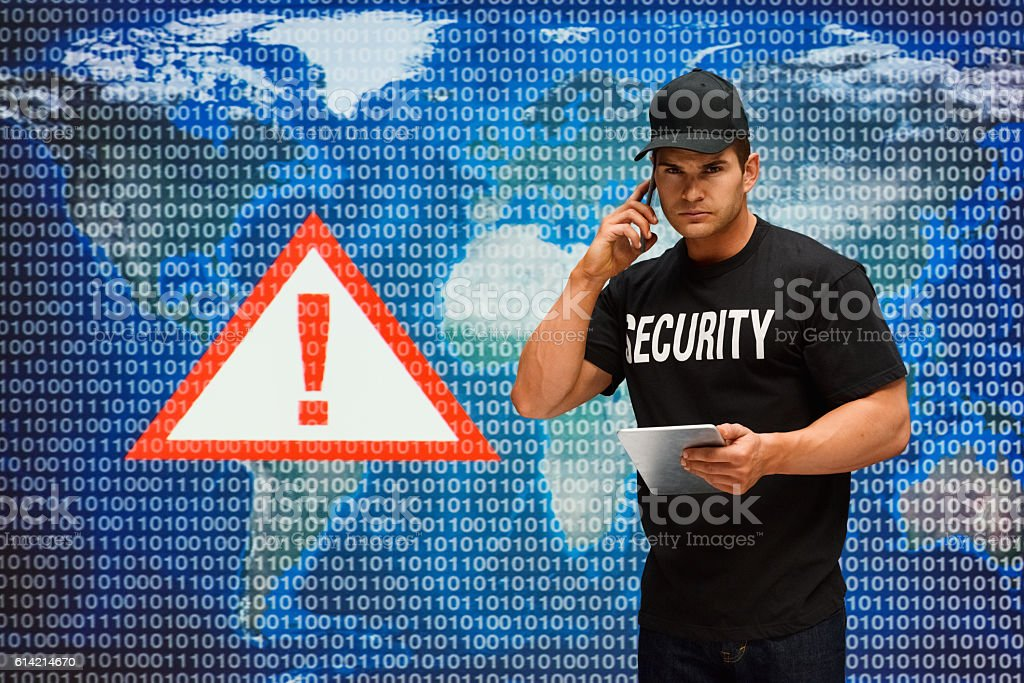 Security guard on phone stock photo