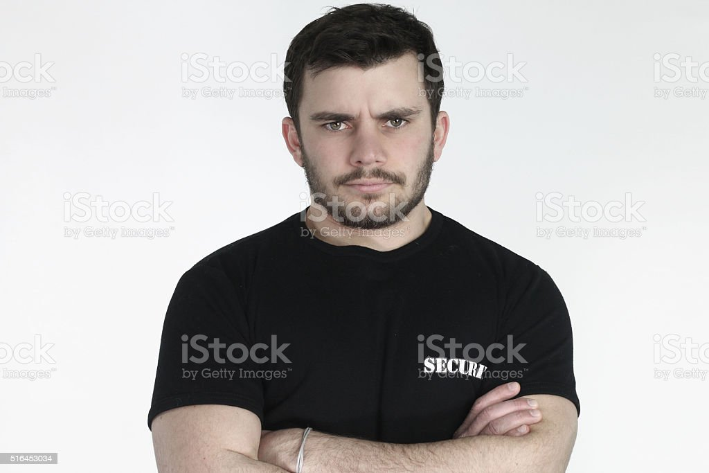 Security guard posing stock photo