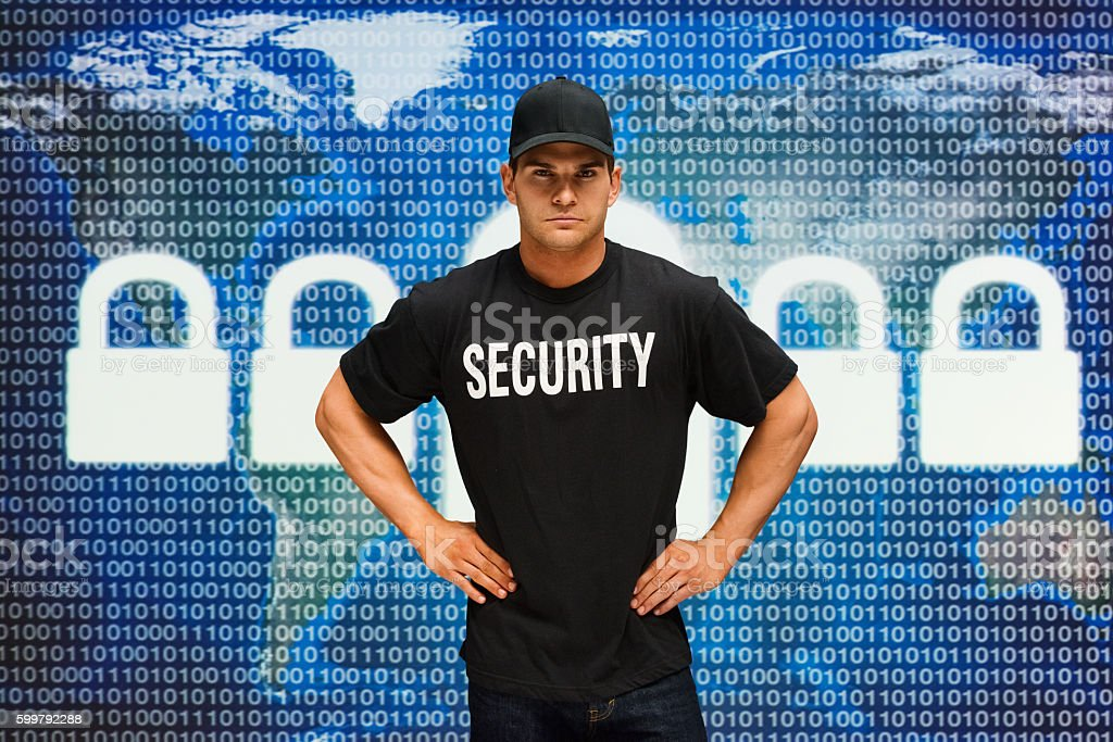 Security guard standing stock photo