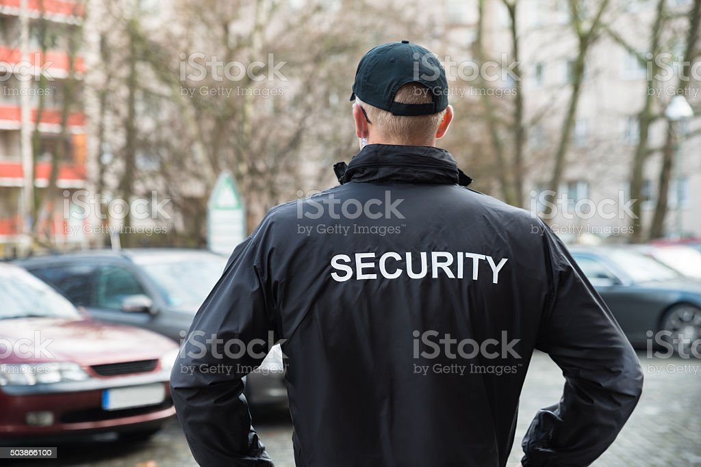 Security Guard Wearing Jacket stock photo