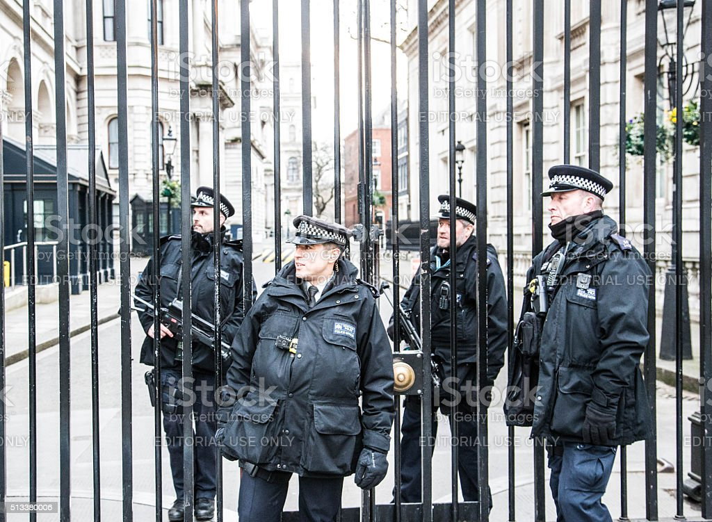 Security guards at Pleb Gate, Downing Street, London stock photo