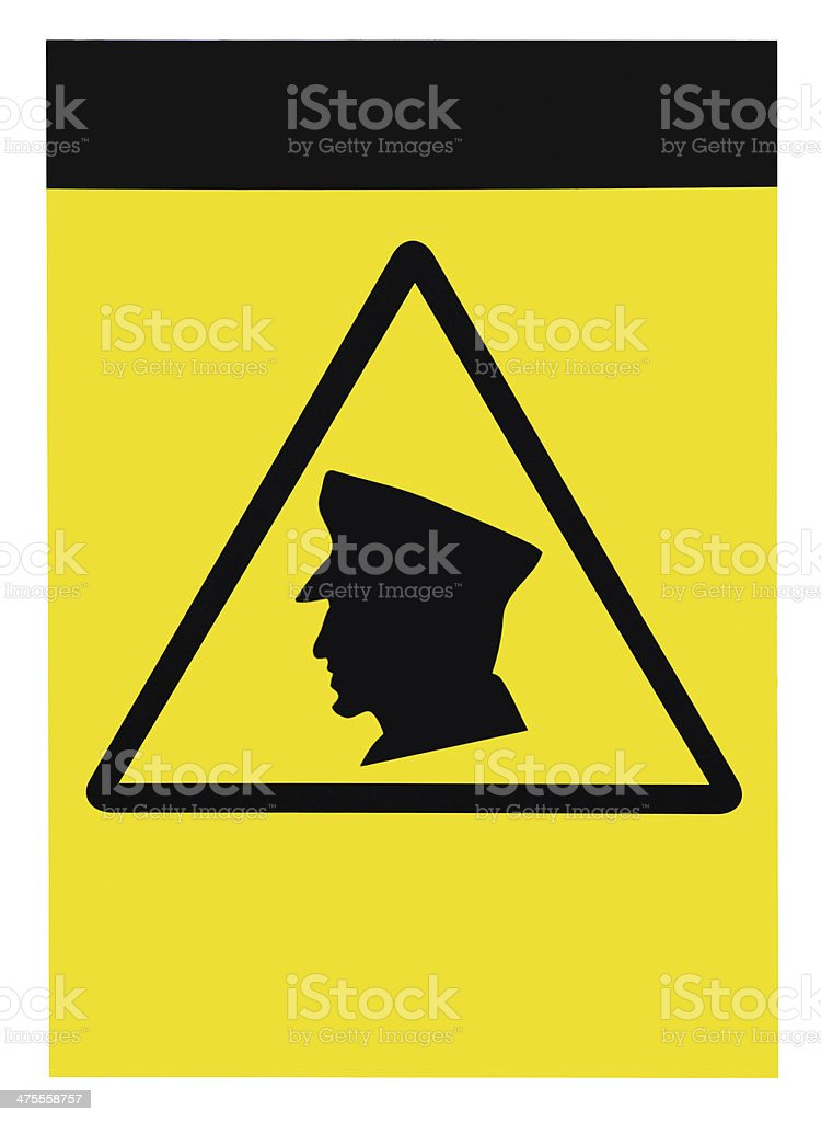 Security guards on patrol warning sign, blank empty isolated signage stock photo