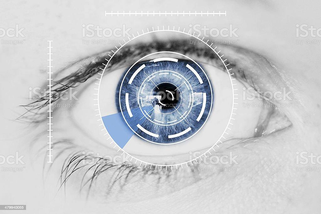 Security Iris Scanner on Blue Human Eye stock photo