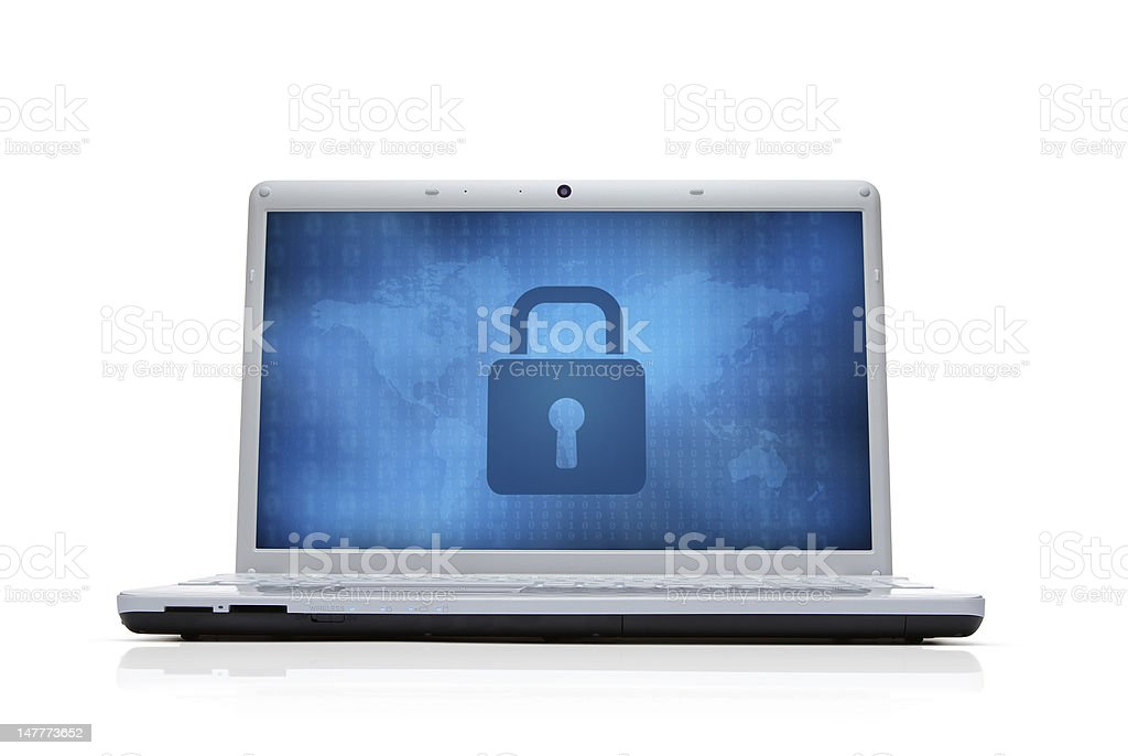 Security lock at the computer monitor stock photo