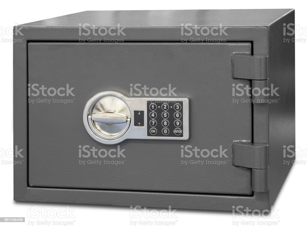 Security metal safe with digital code stock photo