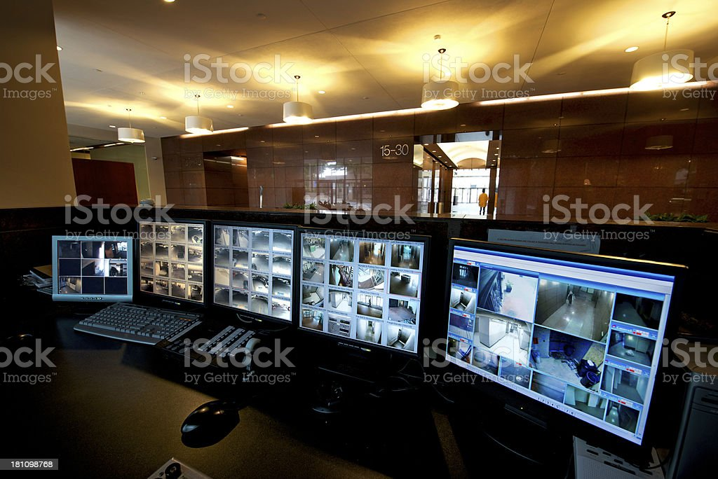 Security Monitors in Office Building stock photo