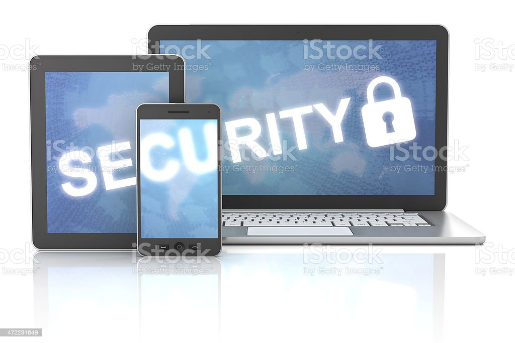 Security of using gadgets, including digital tablet, smartphone and computer royalty-free stock photo