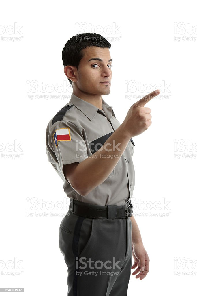 Security officer or warden pointing finger stock photo
