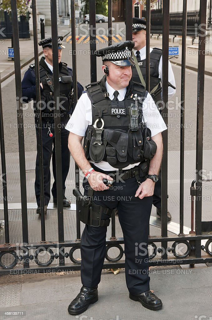 Security officers in front of the Downing Street 10 stock photo