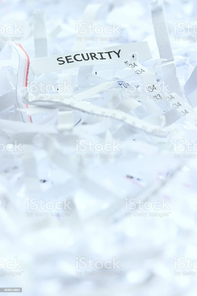 Security on shredded paper royalty-free stock photo