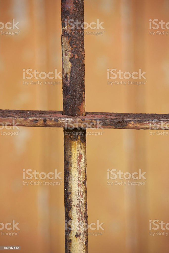 Security or Jail Cell Bar, Rusty, Close Up, Grunge royalty-free stock photo