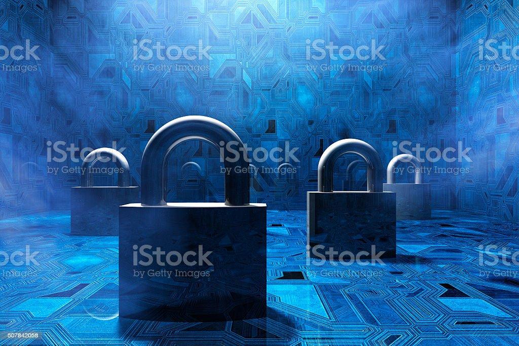 Security padlocks in virtual environment, concept stock photo