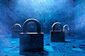 Security padlocks in virtual environment, concept