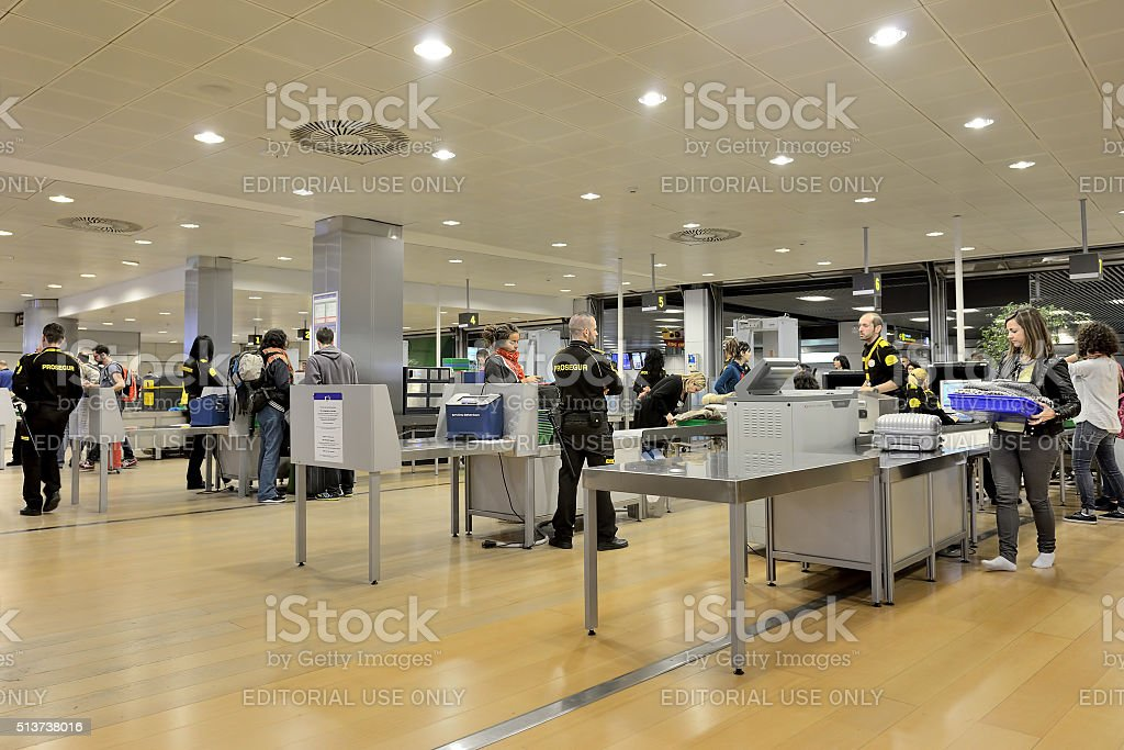 Security point at the airport stock photo