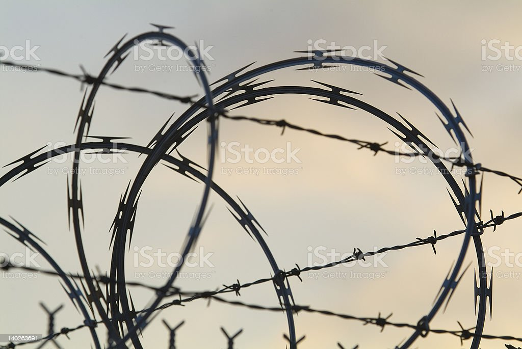 security razor and barbed wire fence short DOF royalty-free stock photo