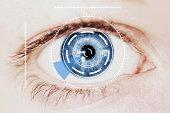 Security Retina Scanner on Intense Blue Human Eye