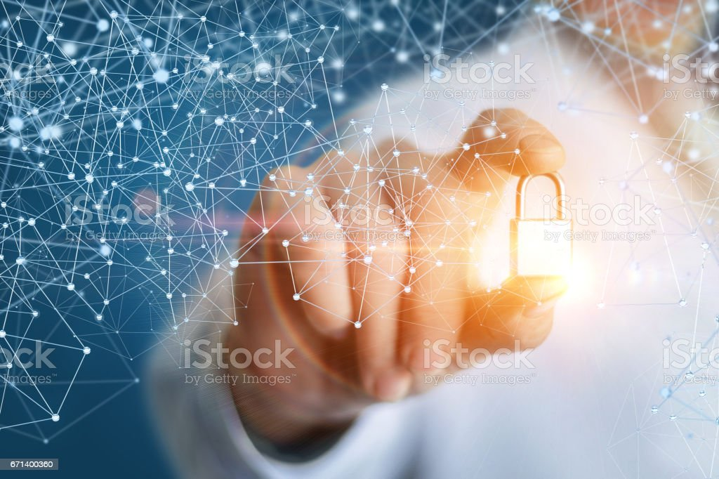 Security sign in the hand of the engineer. stock photo