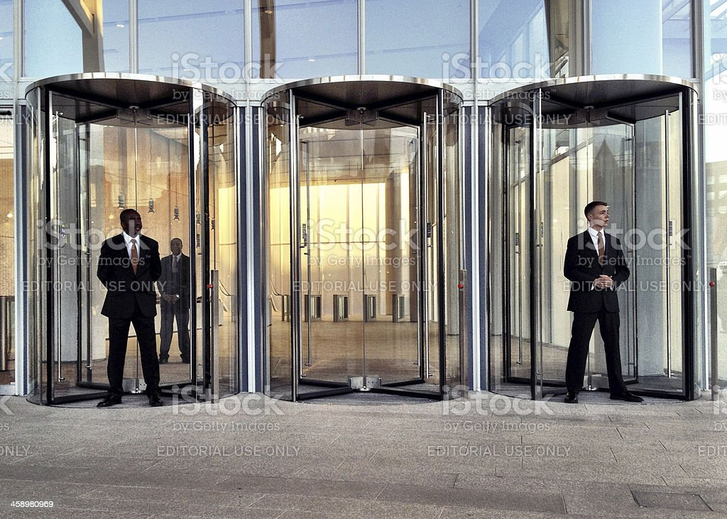 Security staff at the Shard, London. stock photo