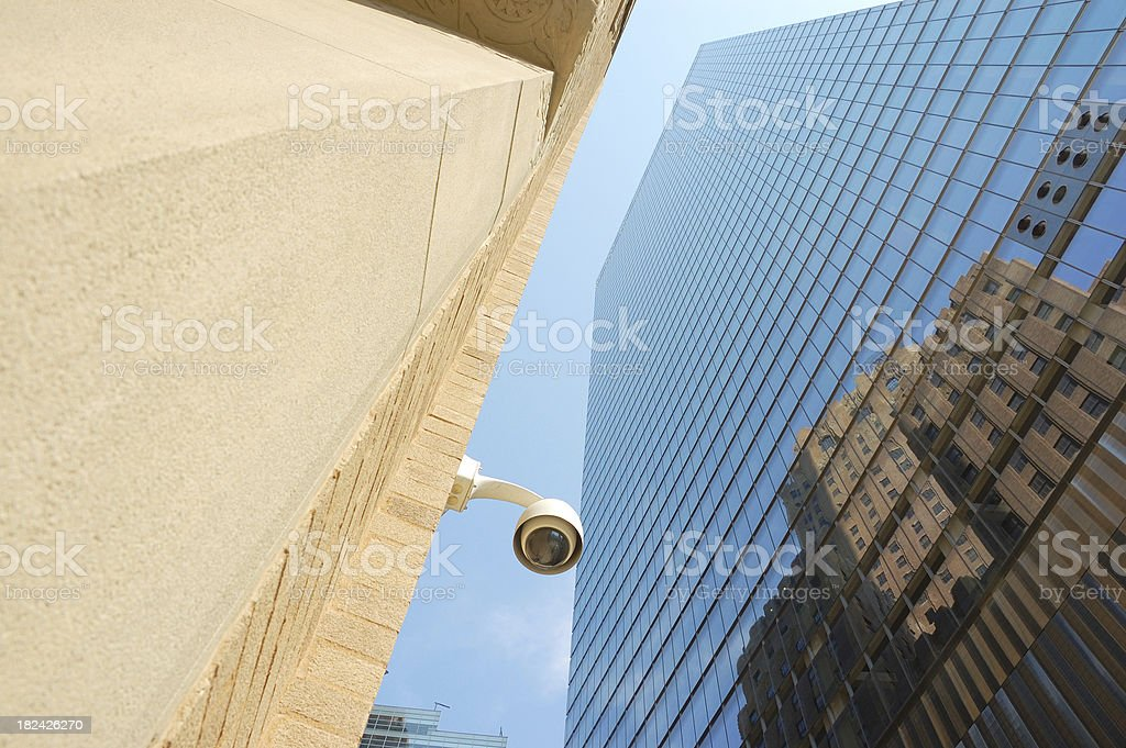 CCTV Security Surveillance camera & Skyscrapers, Lower Manhattan, NYC royalty-free stock photo