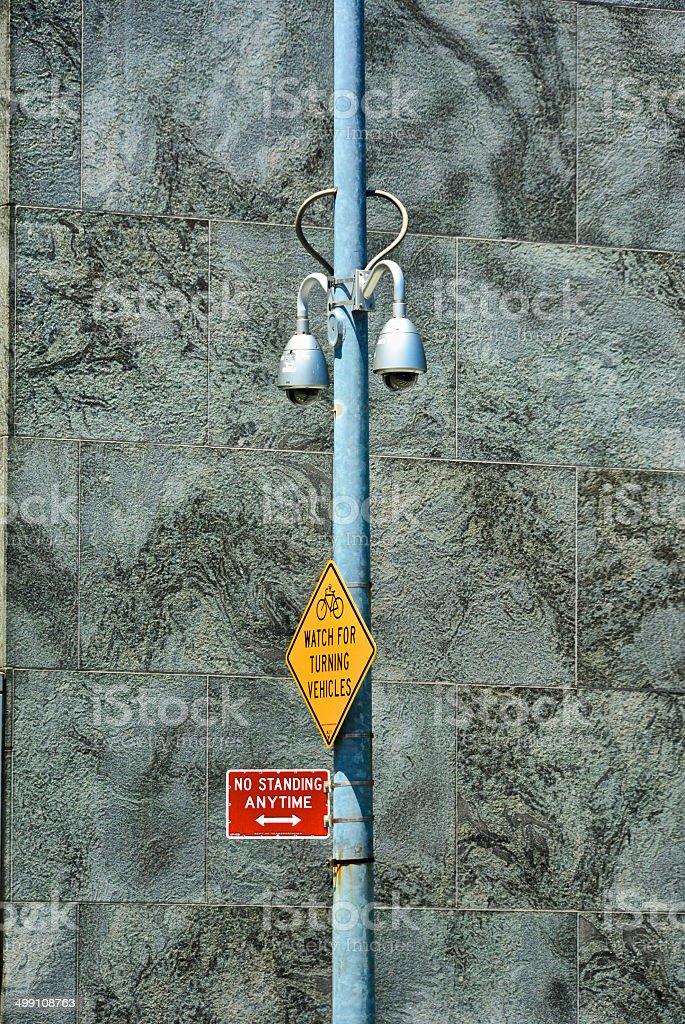 CCTV Security Surveillance cameras, Midtown Manhattan, NYC royalty-free stock photo