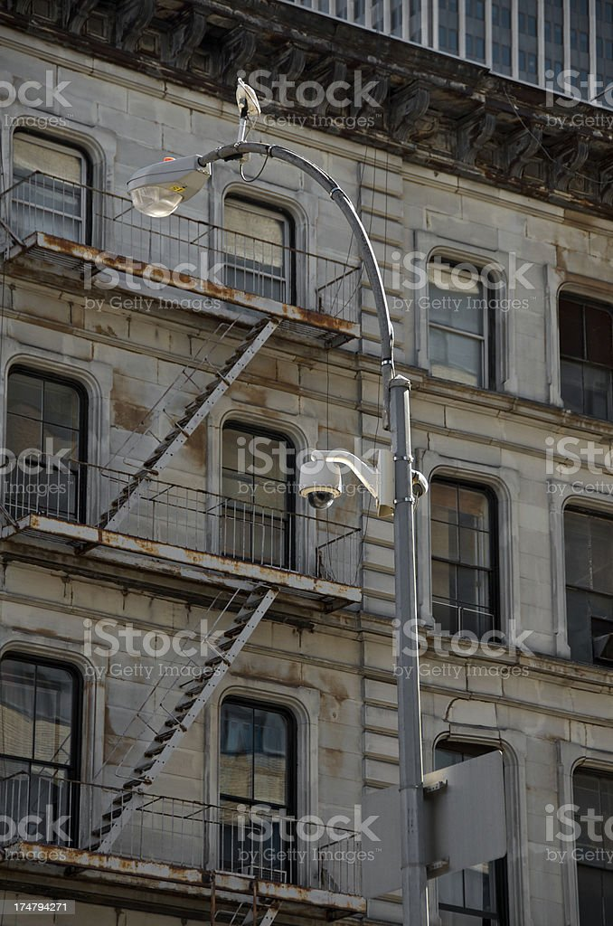 CCTV Security Surveillance cameras, TriBeca, Manhattan, NYC royalty-free stock photo